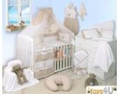 8tlg Babybettwäsche (braun liniert) Schlafmütze Bär 135x100cm Kinderbettwäsche Bettwäsche Himmel Nestchen Baby