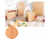 Komplett Kinderzimmer groß NATURA, 3-tlg. (Kinderbett, Wickelkommode breit und 3-türiger Kleiderschrank), FSC®-zertifizierte Buche vollmassiv, geölt Gr. 70 x 140